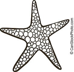 Starfish - Doodle drawing (outline, without filling) of sea...