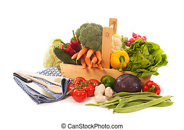 harvest basket fresh vegetables - Wooden basket with fresh...