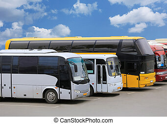 buses on parking - big tourist buses on parking