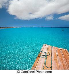 Formentera Ses Illetes beach pier Illetas and Ibiza -...