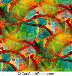 artist green red seamless cubism abstract art Picasso texture watercolor wallpaper background