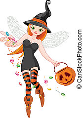 Trick or treating witch - Illustration of trick or treating...