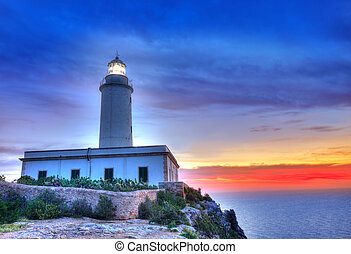 La Mola Cape Lighthouse Formentera at sunrise