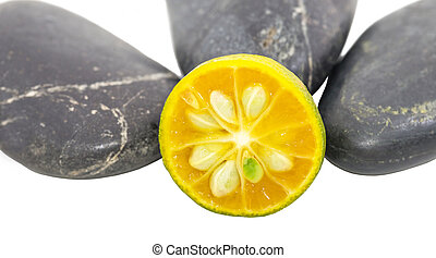 Calamondin and Zen Stones - Calamondin and zen stones over...