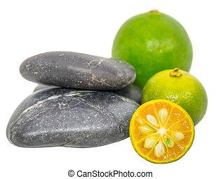 Calamondin, Lime and Zen Stones - Calamondin, lime and zen...