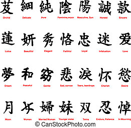 Chinese symbols - collection of 28 chinese symbols on a...