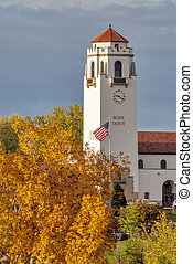 Boise Train Depot in autumn with American flag - Fall colors...