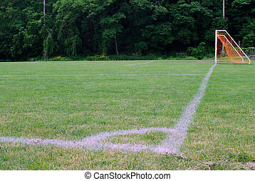 Corner markings on soccer field - Corner boundary markings...