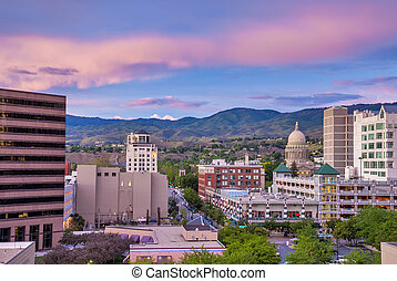 Downtown Boise Idaho just after sundown with Capital...