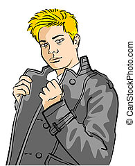 Leather Jacket Man - Illustration of a young man wearing...