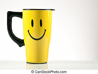 Happy Face Coffee - coffee mug with smiley face portrait
