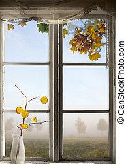 Autumn landscape viewed through window - Autumn landscape in...