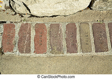 Several bricks with the work BOISE stamped into them - City...