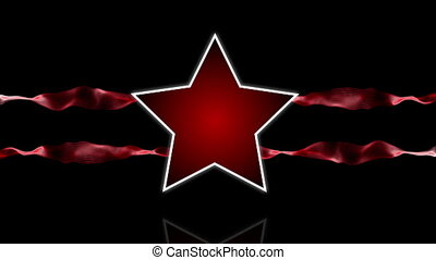 Star logo red - Star logo animation with abstract stripes of...