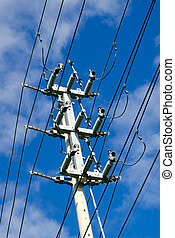 Electrical transmission tower on sky