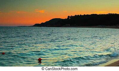 Waves on sea coast panorama.