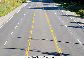 Empty multi-lane highway - Empty multi-lane asphalt highway...