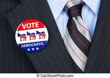 Democratic voter - A democratic voter proudly wears his...