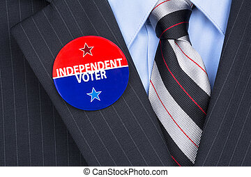 Independent voter pin - An independent voter wears his party...