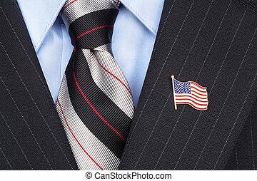 Solapa, norteamericano, bandera, alfiler