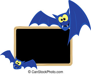 funny bats with blank signboard