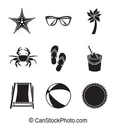 beach icons - beach icons over white background vector...
