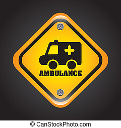 ambulance signal over black background vector illustration