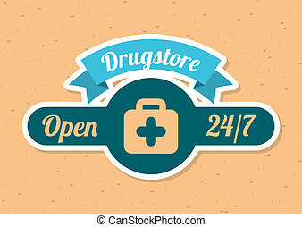 drugstore design over cream background vector illustration