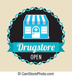 drugstore over pink background vector illustration
