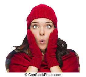 Stunned Mixed Race Woman Wearing Winter Hat and Gloves