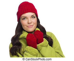 Grinning Mixed Race Woman Wearing Winter Hat and Gloves