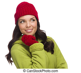 Mixed Race Woman Wearing Hat and Gloves Looking to Side