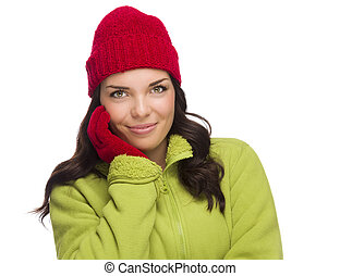 Smilng Mixed Race Woman Wearing Winter Hat and Gloves