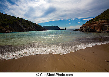 Ibiza Cala Benirras beach in san Joan at Balearic