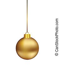 Gold christmas ball hanging on white