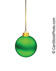 Green christmas ball hanging