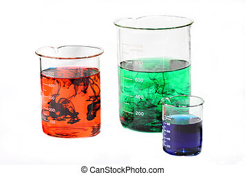 Beaker Chemical Mix - A colorful mix of solutions in beakers...