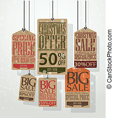 Christmas sale tags Vintage style - Vector Illustration of...
