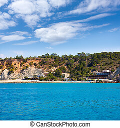 Ibiza Cala dHort d Hort view from boat in Balearic