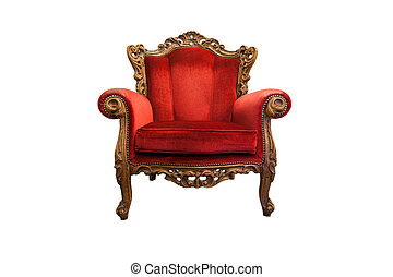 Luxurious armchair - classical carved wooden chair isolated...