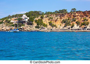 Ibiza Cala dHort d Hort view from boat in Balearic Islands