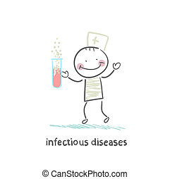 infectious diseases specialist working with test tubes in which the infection