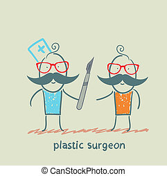 plastic surgeon with a scalpel is close to the patient