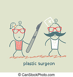 plastic surgeon escapes from the patient with a scalpel