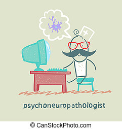psychoneuropathologist  sits on the workplace at the computer and thinking of nerve cells