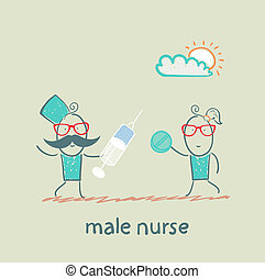 male nurse  with a syringe and pills in the hands of