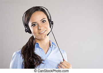 Call center woman - Beautiful call center young woman ready...