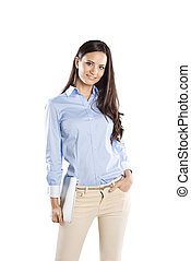 Business woman - Successful business woman is standing on...