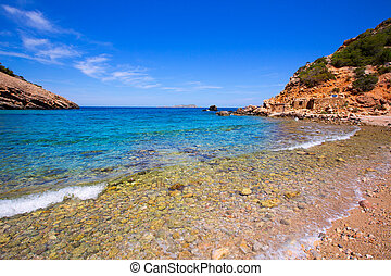 Ibiza Cala Moli beach with clear water in Balearics - Ibiza...