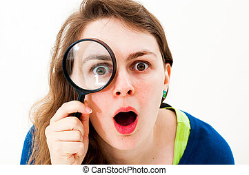 woman with magnifying glass on a white background